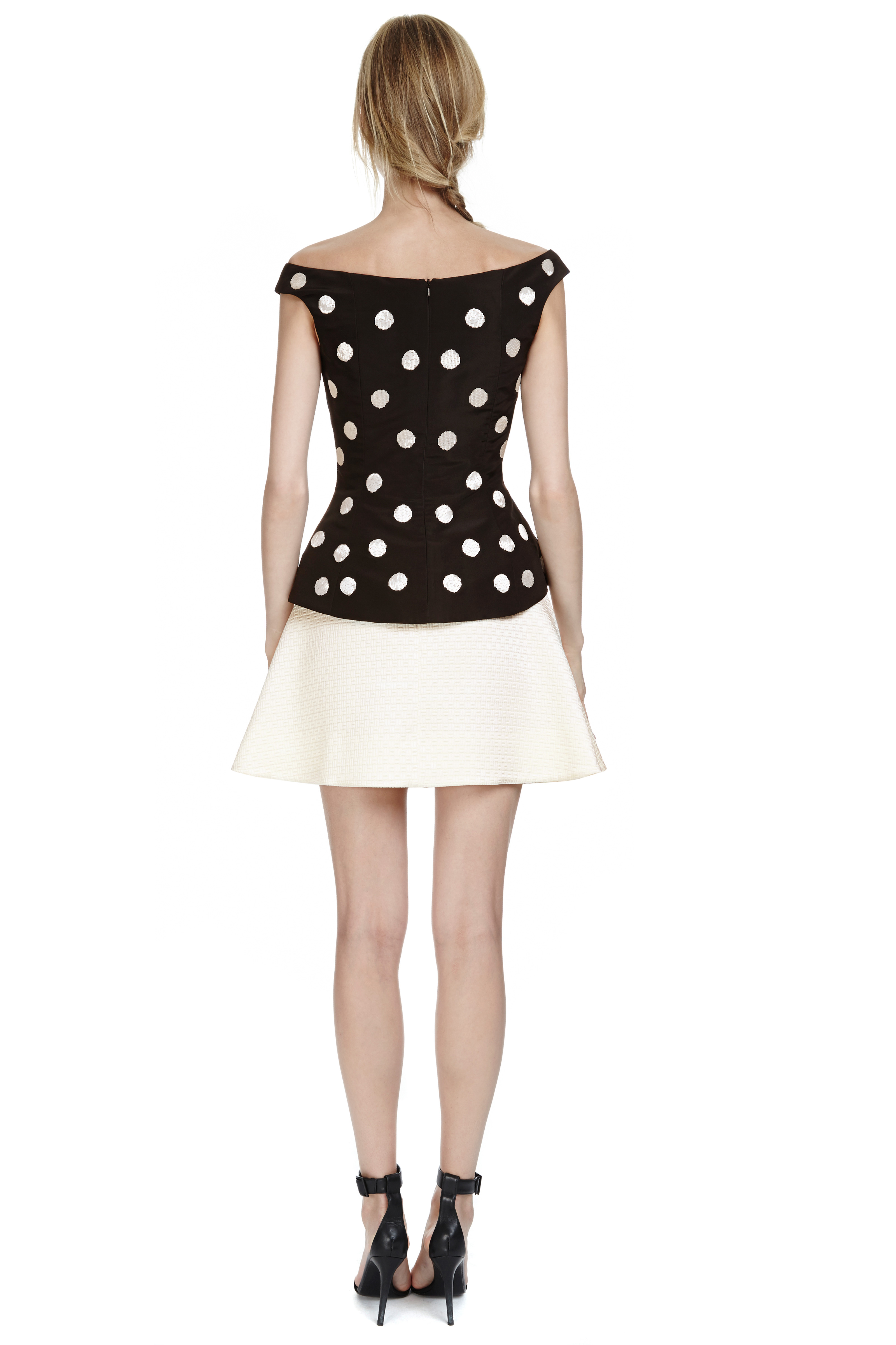 oscar de la renta offshoulder polka dot peplum top in black lyst. Black Bedroom Furniture Sets. Home Design Ideas