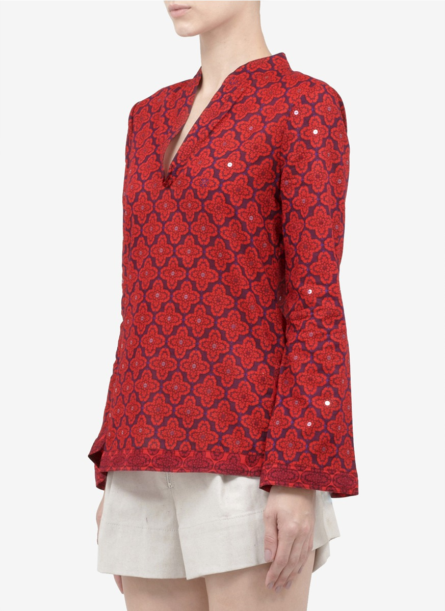 667d0096daa Tory Burch Stephanie Printed Sequined Cotton Tunic in Red - Lyst