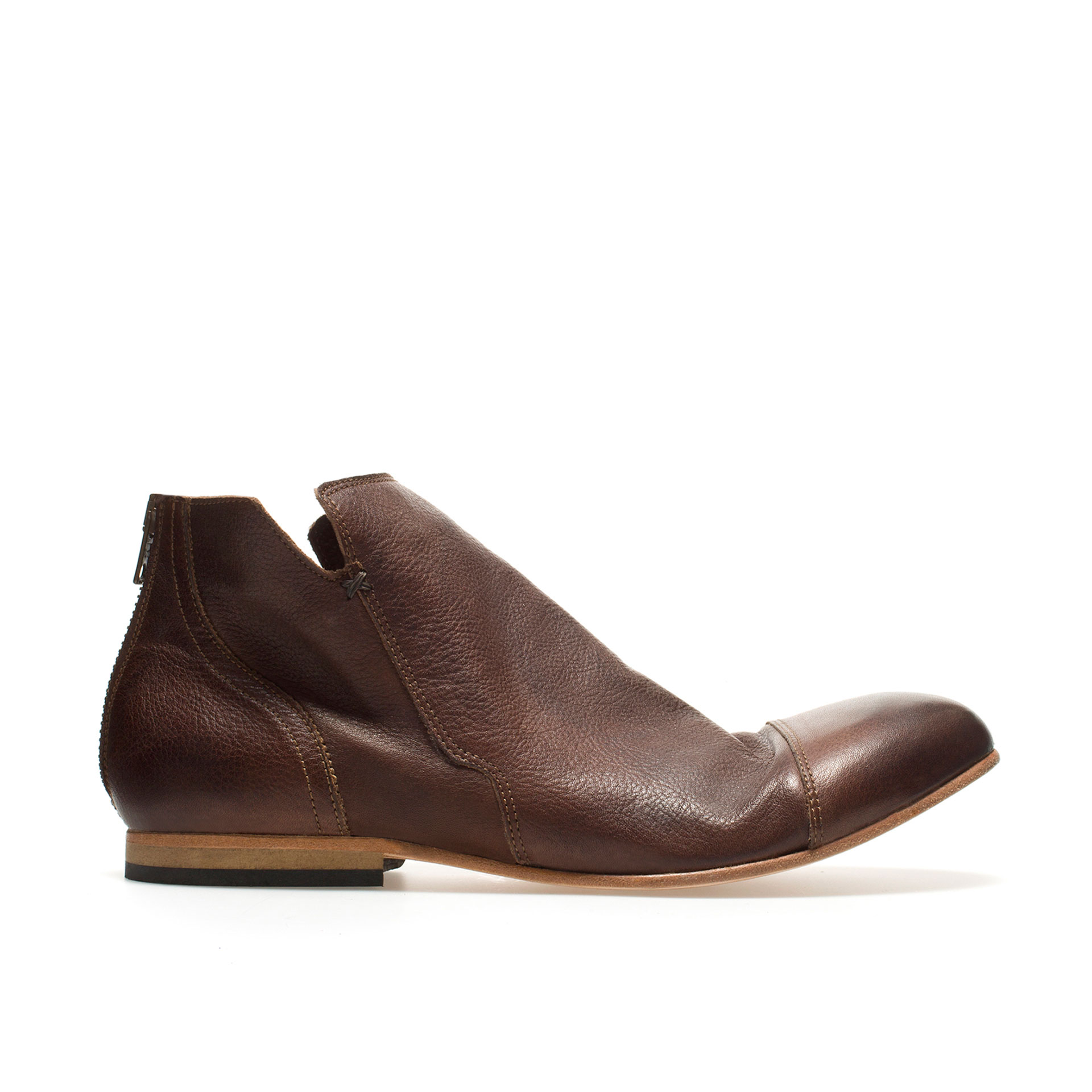 zara deconstructed ankle boot in brown for lyst