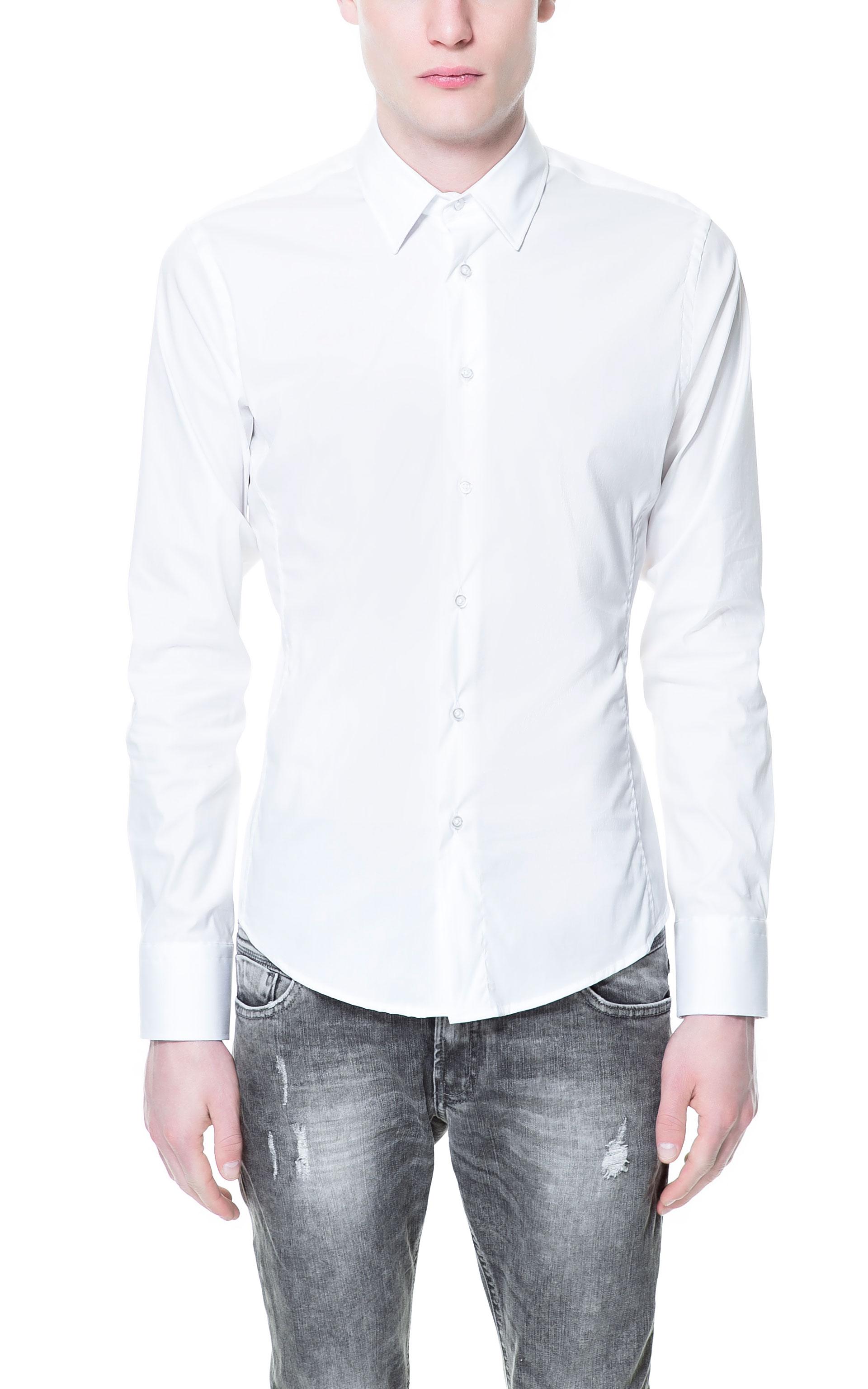 Zara Stretch Shirt in White for Men | Lyst