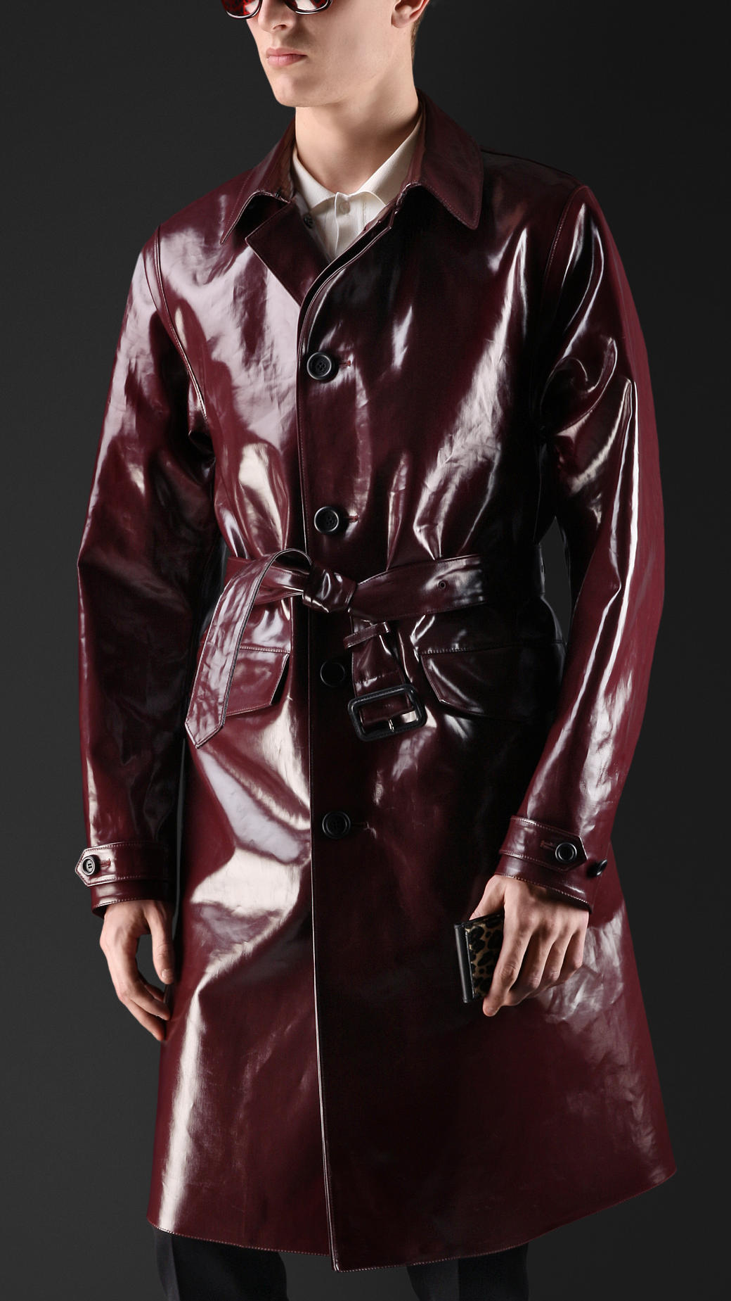 Burberry Laminated Cotton Trench Coat In Red For Men Lyst