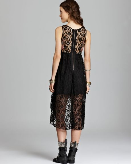 Free People Dress Russian Doll Floral Lace In Black Lyst