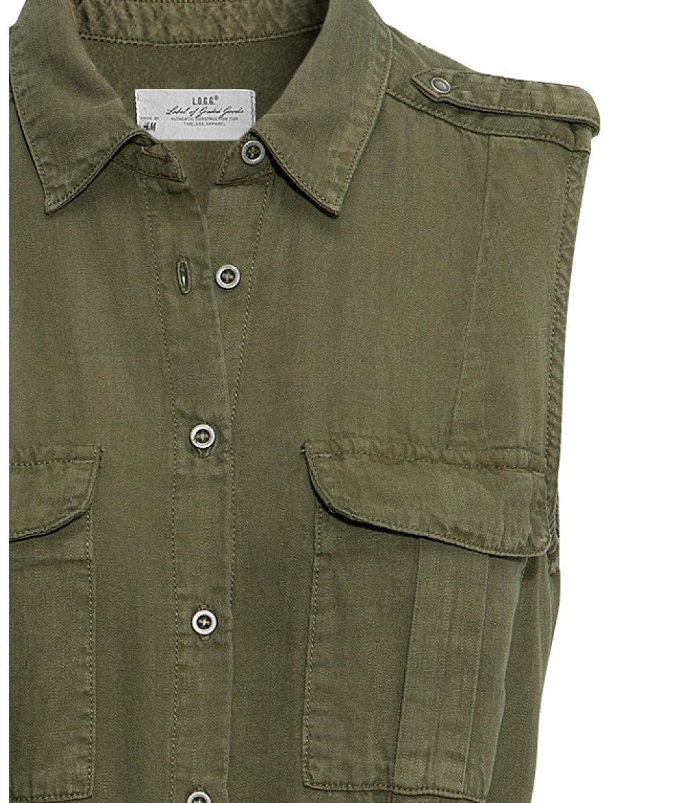 H Amp M Lyocell Dress In Khaki Green Natural Lyst