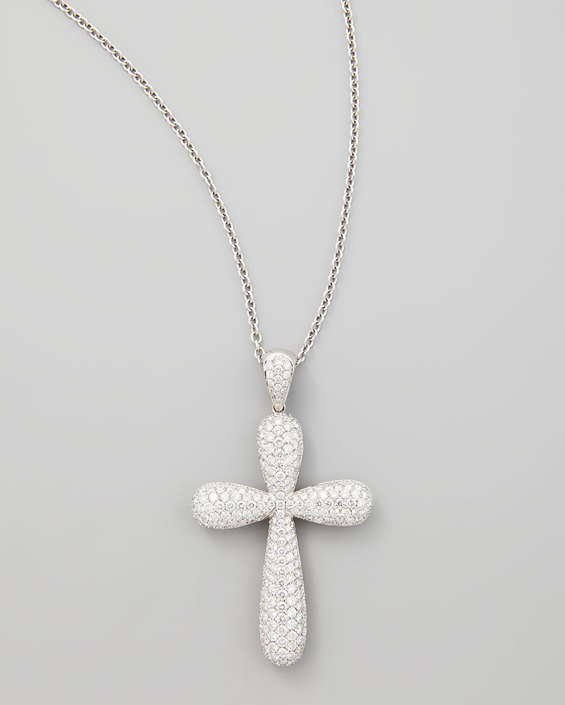 Lyst neiman marcus 18k white gold large pave diamond cross pendant gallery aloadofball Gallery