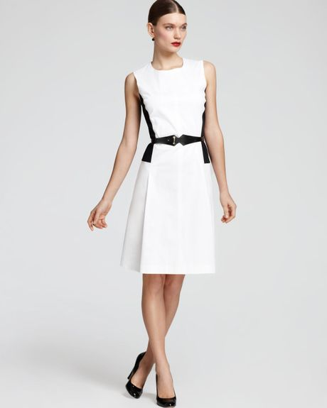 max mara studio eco dress with belt in white optical. Black Bedroom Furniture Sets. Home Design Ideas