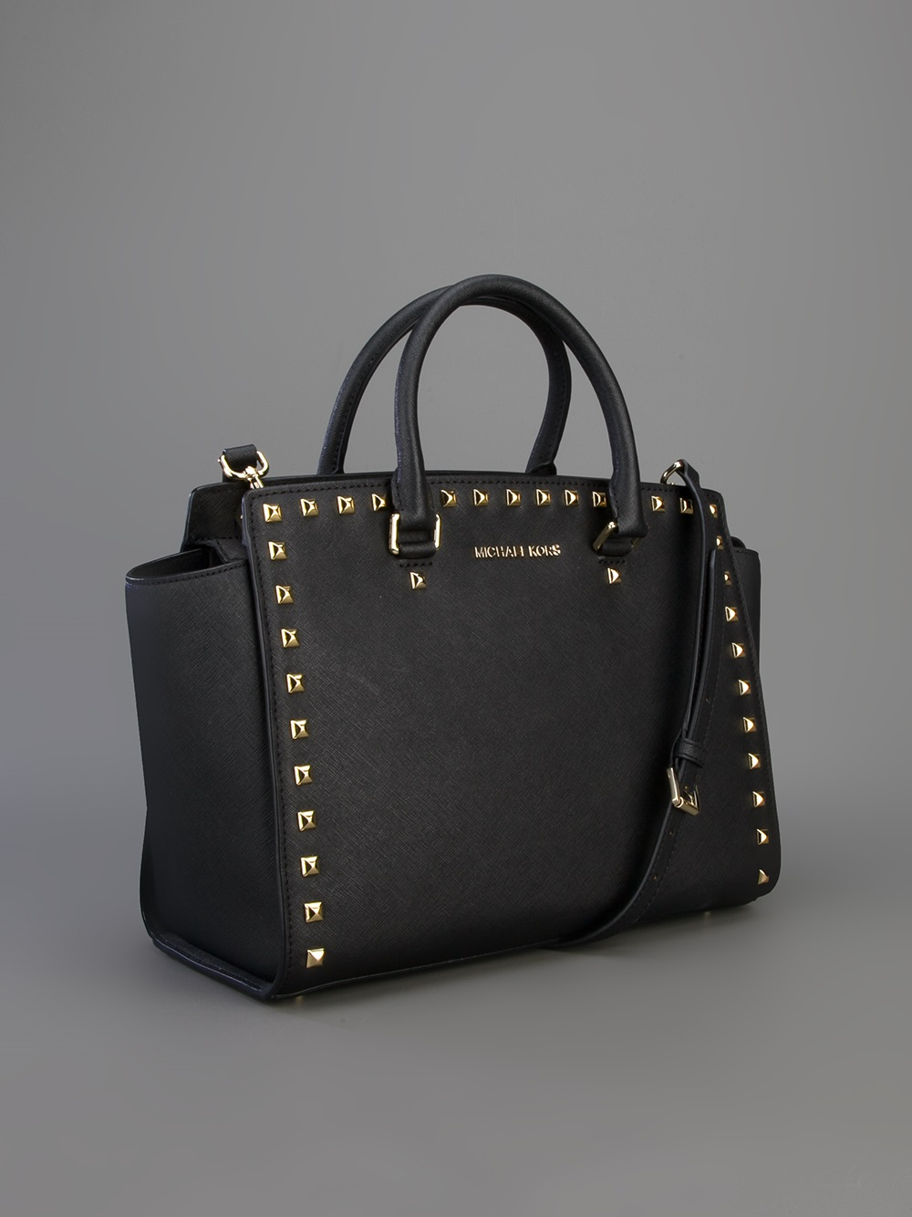 michael michael kors selma studded satchel in black