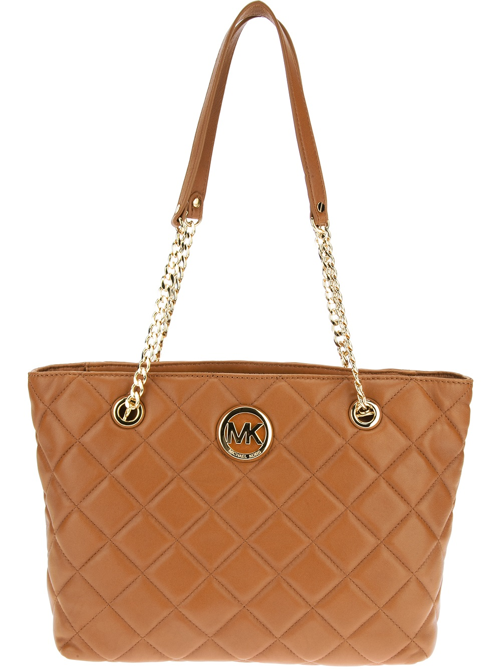 michael michael kors fulton large quilted tote in brown lyst. Black Bedroom Furniture Sets. Home Design Ideas