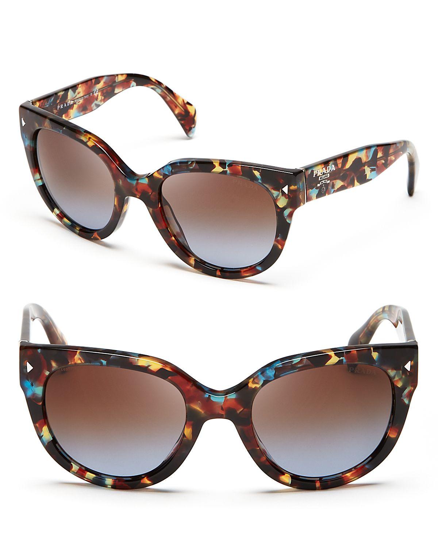 240e7b41bb81 best prada tortoise rectangle sunglasses havana blue d030f 0713a  get lyst  prada cat eye sunglasses in blue c9f39 52ce5