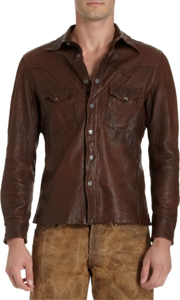 Ralph lauren black label shrunken leather western shirt in for Black brown mens shirts