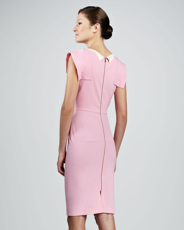 Light Pinky Brown Lip Makeup: Roland Mouret Cap-sleeve Sheath Dress Light Pink In