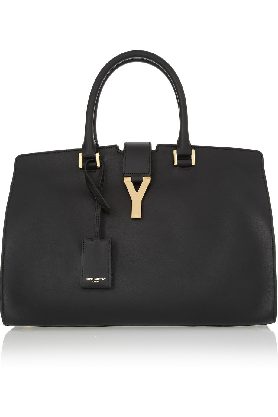 saint laurent cabas chyc medium leather shopper in black. Black Bedroom Furniture Sets. Home Design Ideas