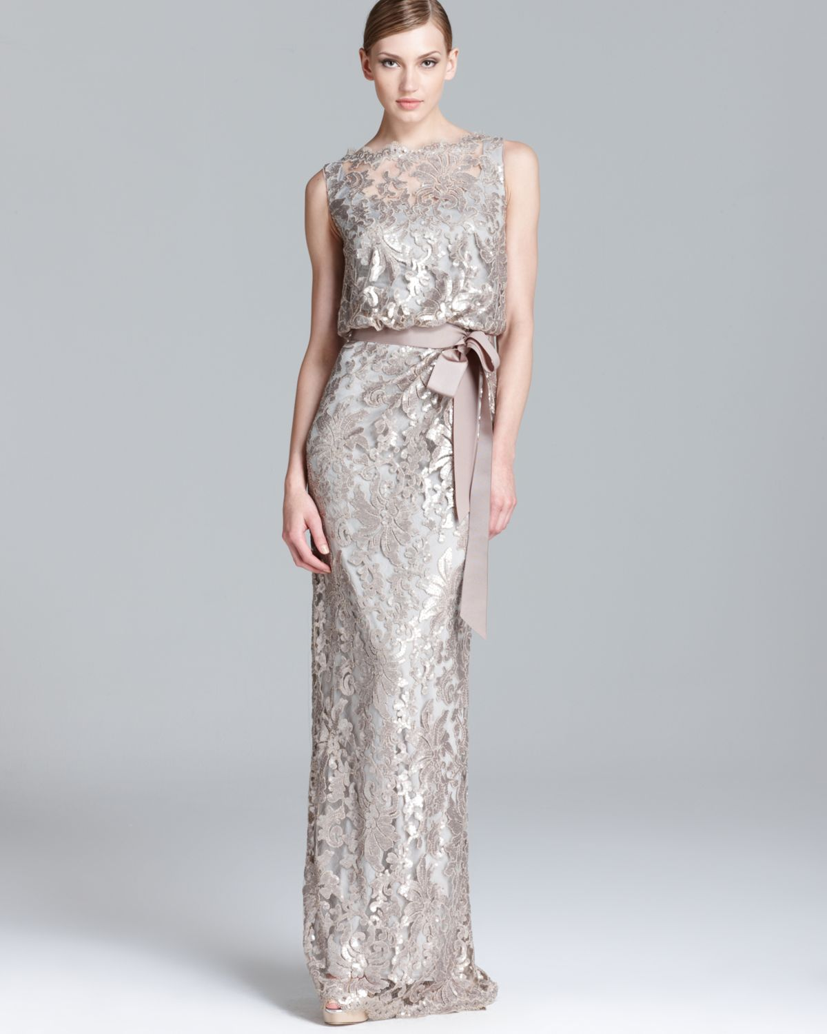 Sequin Lace Gown Sleeveless Blouson