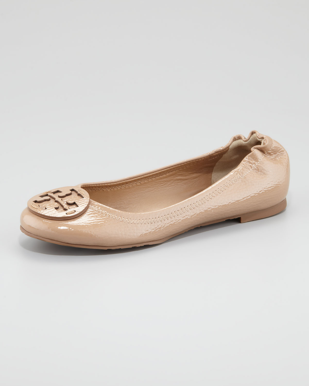 db6cc4376e6 Tory Burch Natural Reva Tonal Logo Ballerina Flat