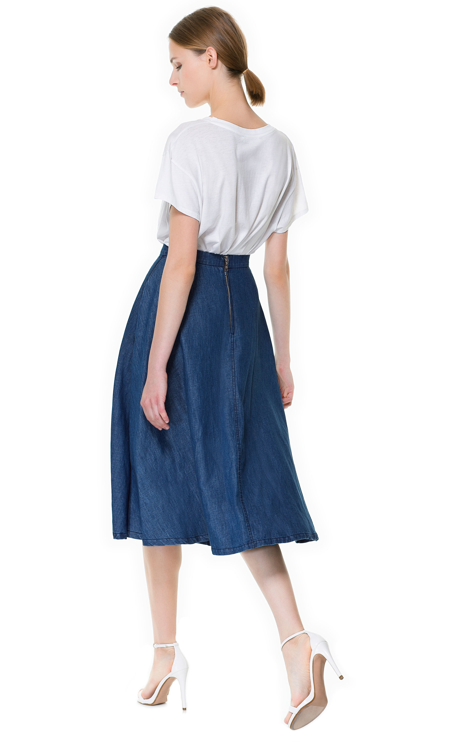 Zara Denim Midi Skirt in Blue | Lyst