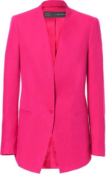 Zara Linen Blazer In Pink Fuchsia Lyst