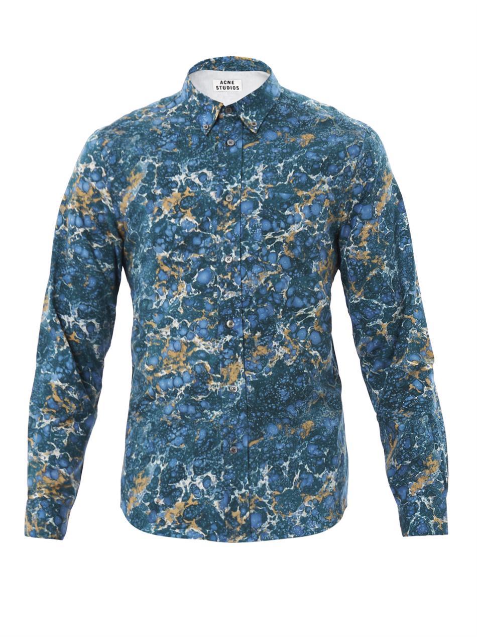 fbc3a78bb8 Lyst - Acne Studios Isherwood Marbleprint Shirt in Blue for Men