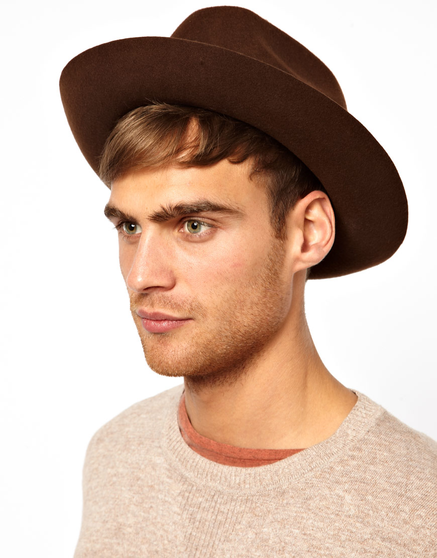 Lyst - ASOS Trilby Hat with Wide Brim in Brown for Men fd9721fcc8a