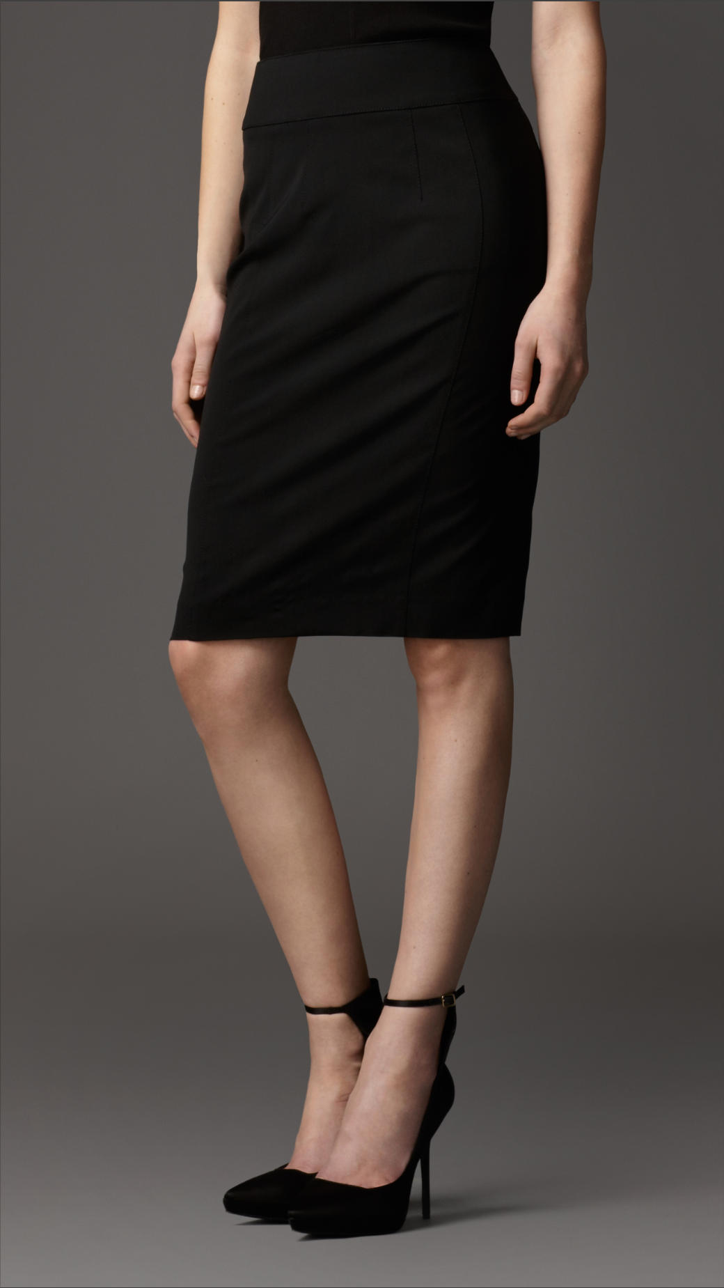 burberry tailored wool blend pencil skirt in black lyst