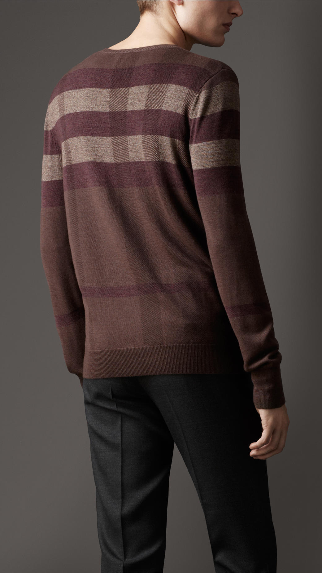Lyst Burberry Check Wool Silk Sweater In Brown For Men