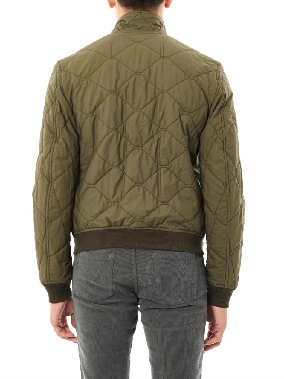 Burberry brit Quilted Bomber Jacket in Green for Men | Lyst
