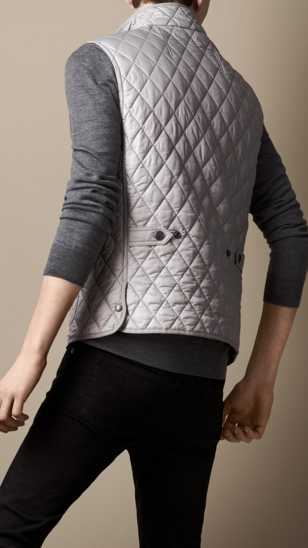 Lyst Burberry Diamond Quilted Gilet In Gray For Men