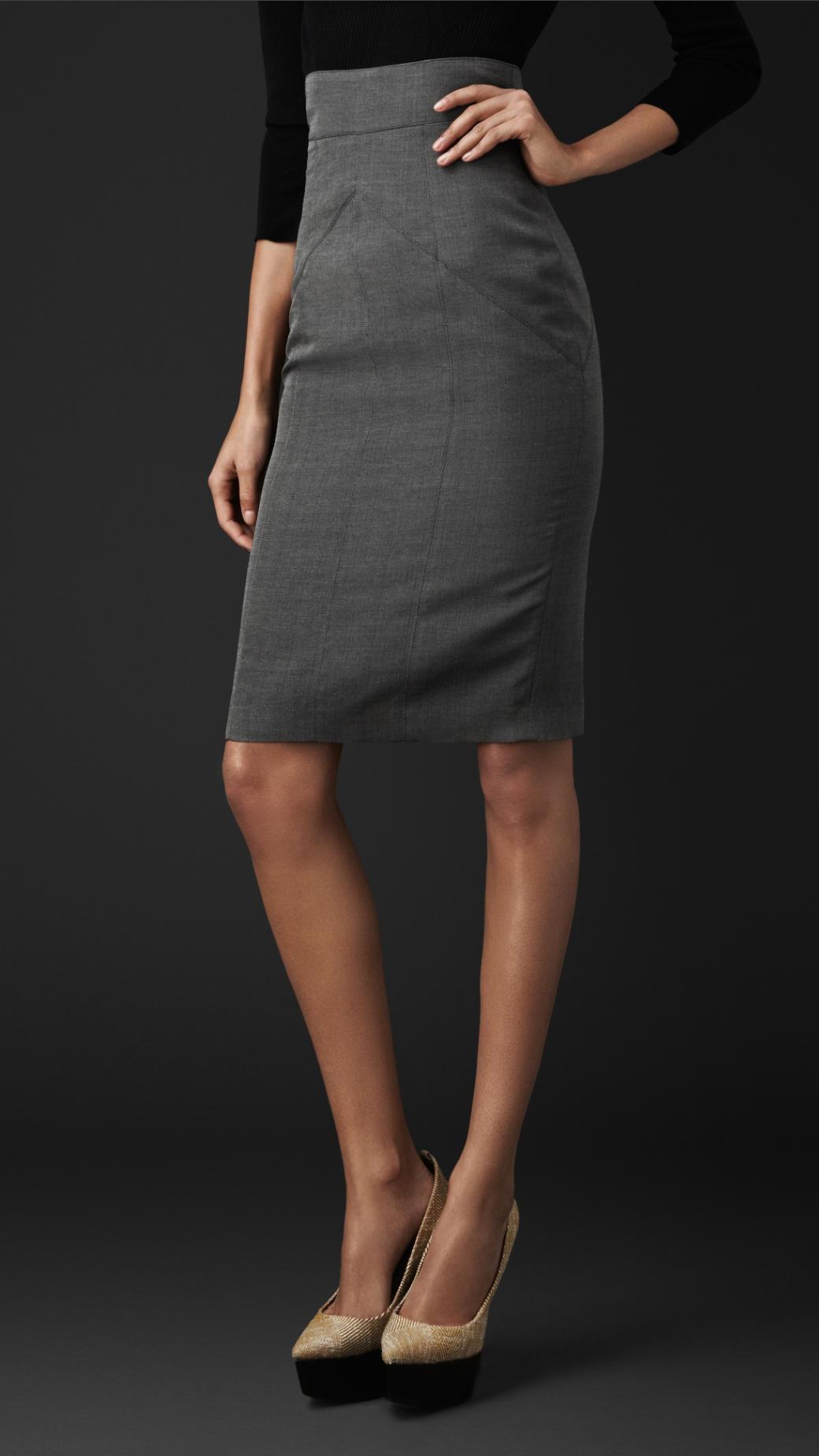 Burberry Cotton Silk Pencil Skirt In Mid Grey Melange