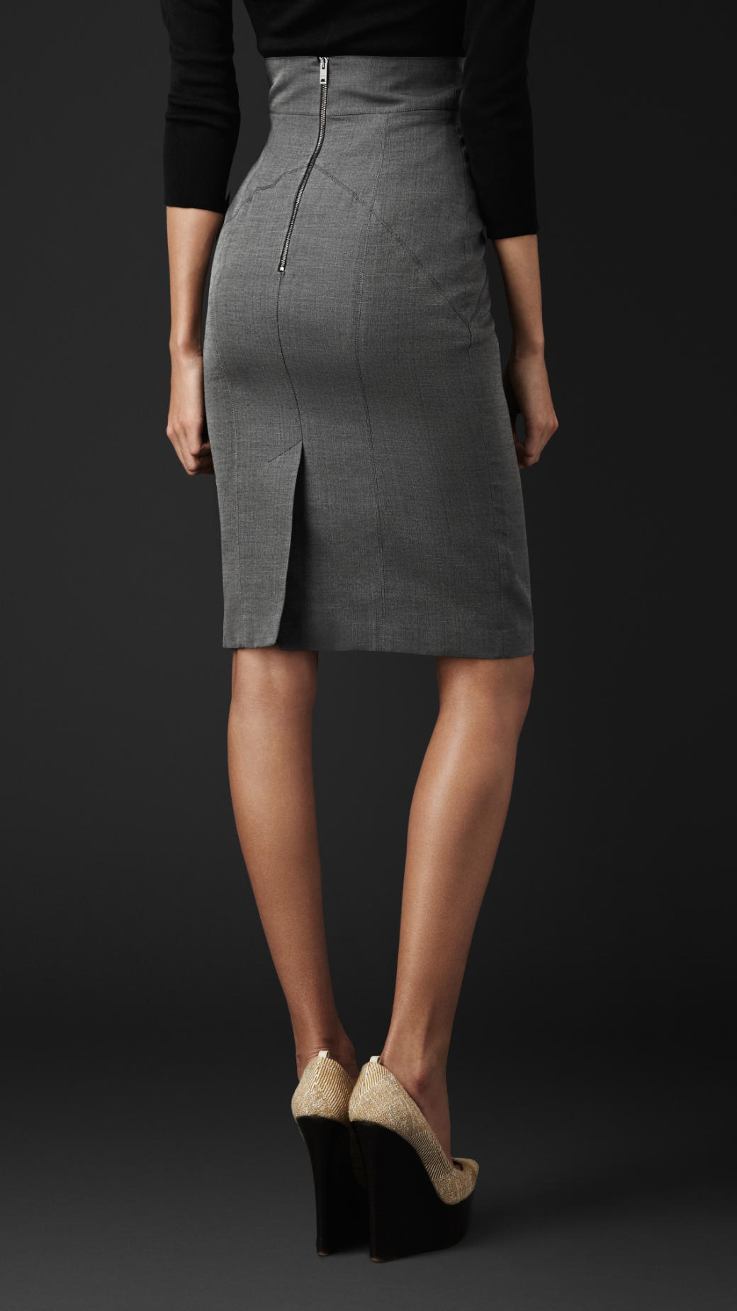 Burberry Cotton Silk Pencil Skirt in Mid Grey Melange