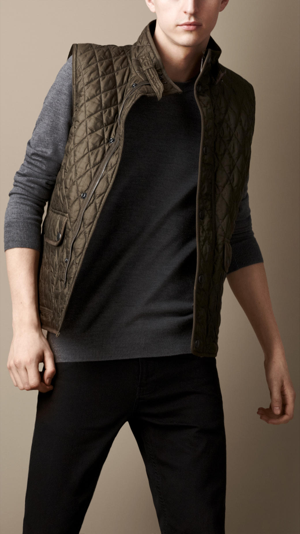 Lyst Burberry Diamond Quilted Gilet In Natural For Men