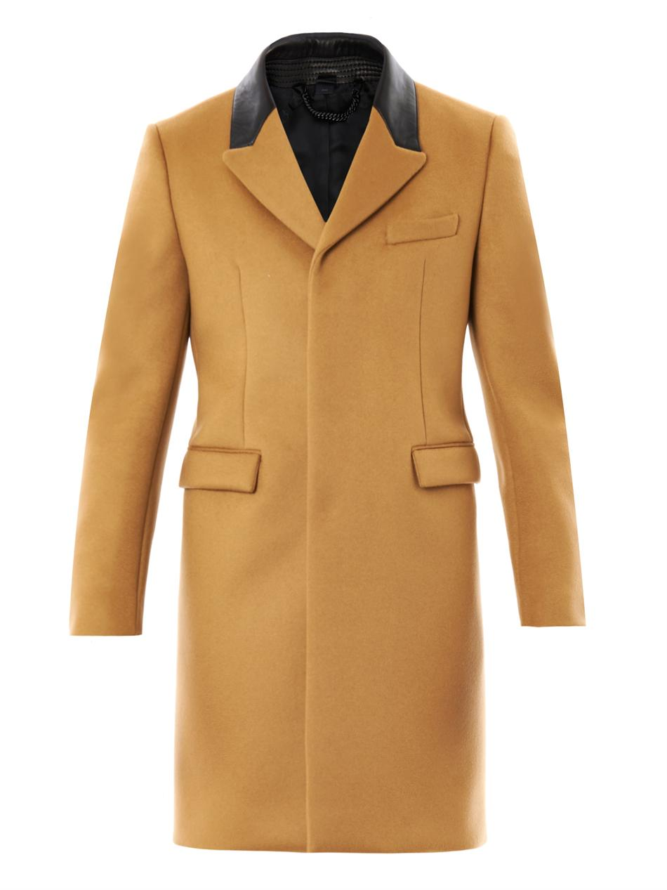 Burberry prorsum Leather Collar Cashmere Coat in Natural for Men ...
