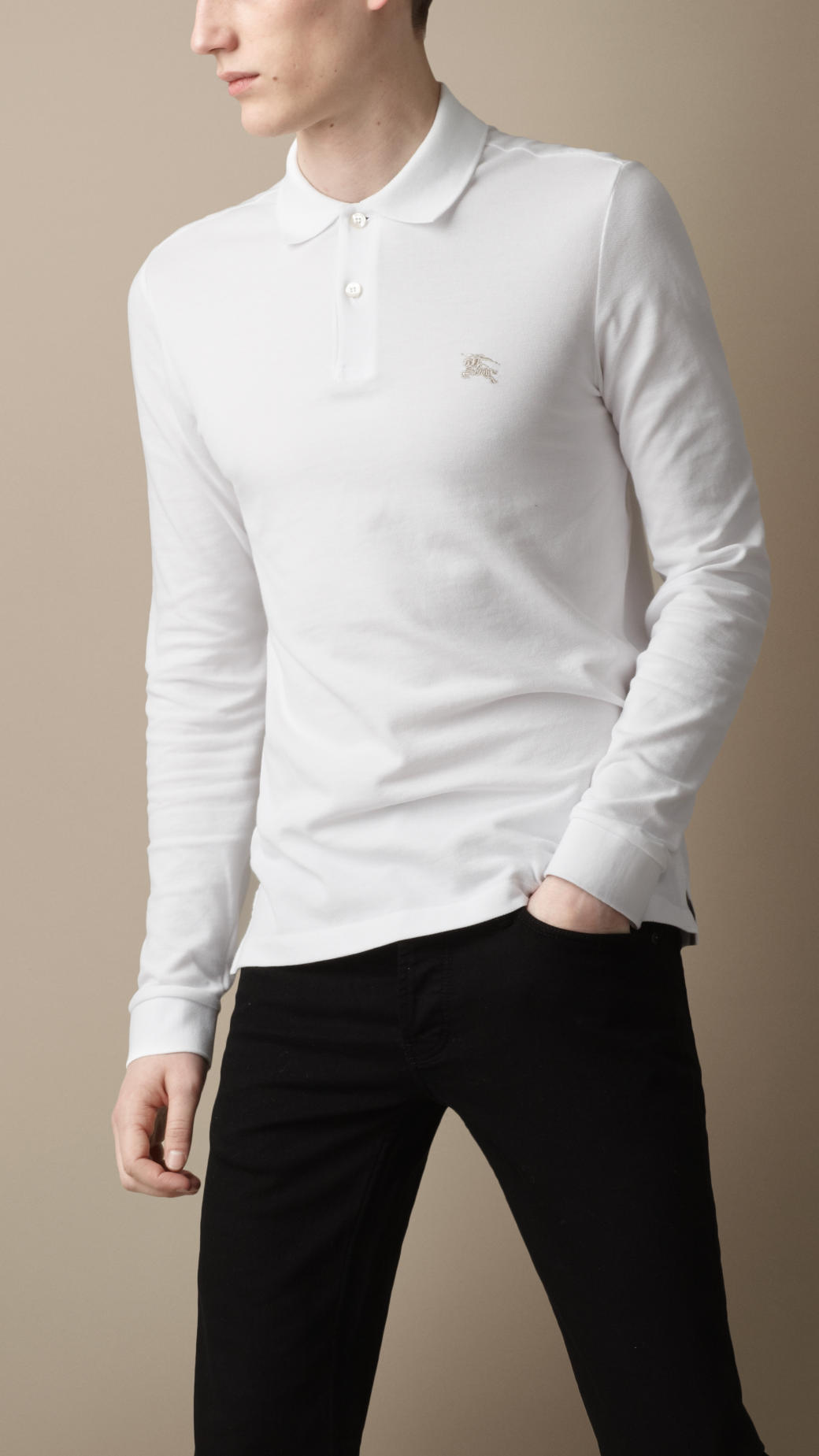 Burberry long sleeve polo shirt in white for men lyst for Mens long sleeve white shirts
