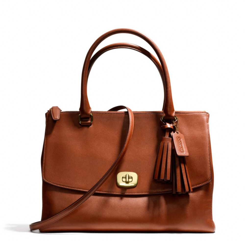 coach legacy large harper satchel in leather in brown brass cognac lyst. Black Bedroom Furniture Sets. Home Design Ideas
