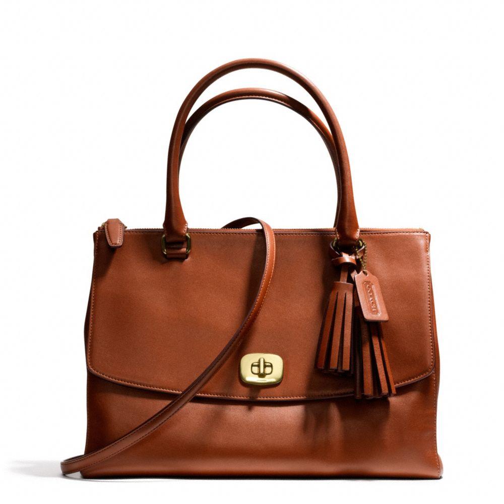 coach legacy large harper satchel in leather in brown brass cognac lyst. Black Bedroom Furniture Sets. Home Design Ideas