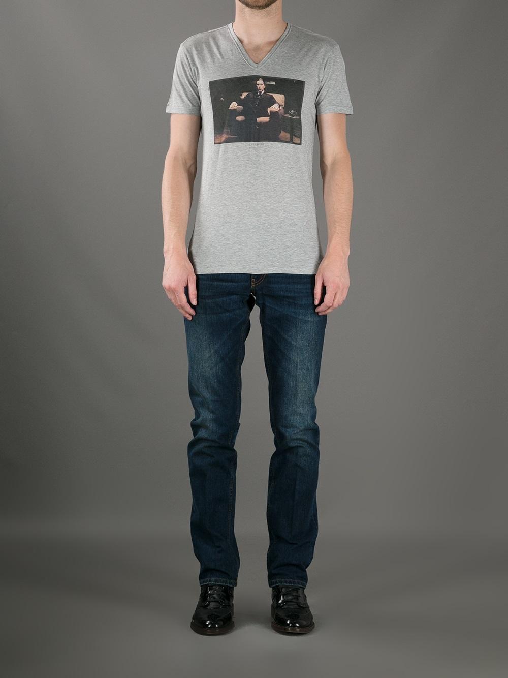 Lyst dolce gabbana al pacino printed tshirt in gray for T shirt printing mobile al