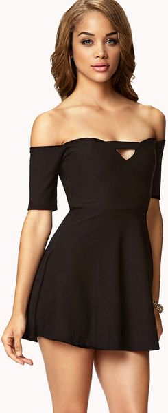 Forever 21 Off-The-Shoulder Fit & Flare Dress in Black