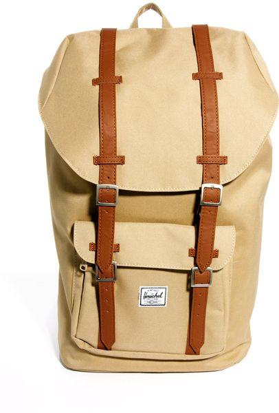 herschel supply co little america backpack in beige khaki lyst. Black Bedroom Furniture Sets. Home Design Ideas