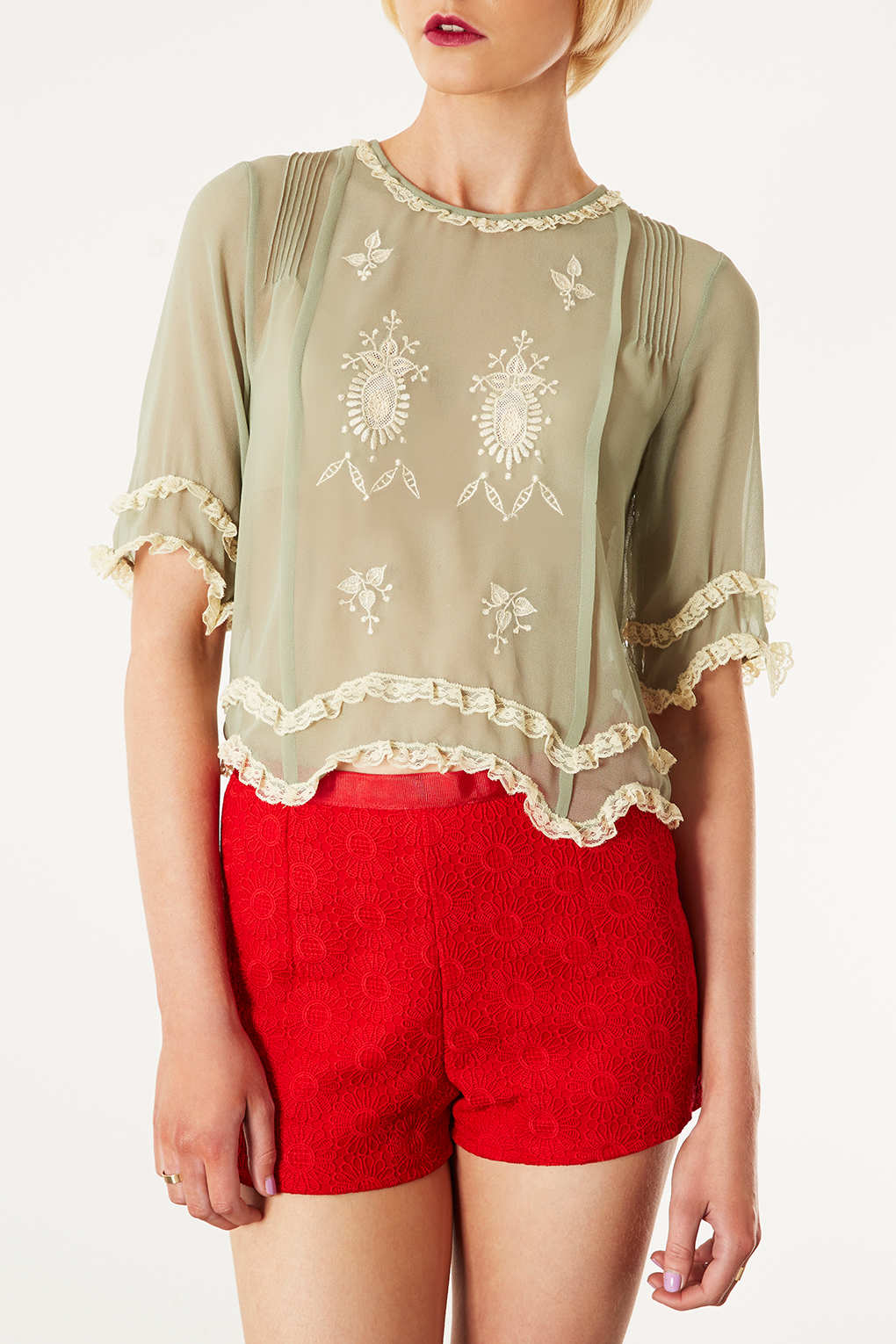 Topshop Lace Trim Embroidered Crop In Natural Lyst