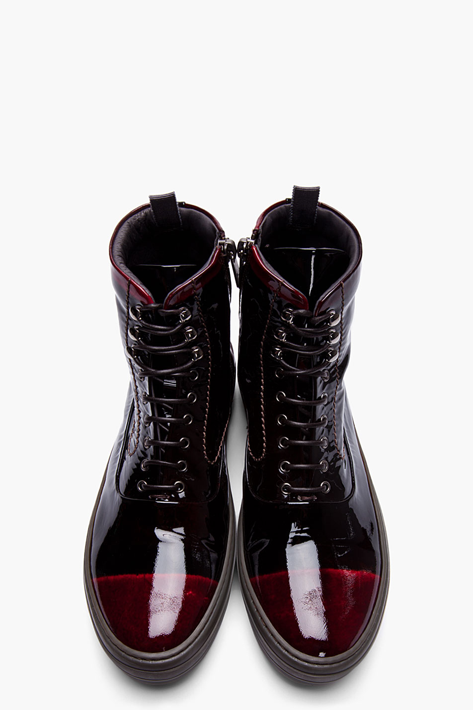 Alexander Mcqueen Black And Burgundy Patent Leather High