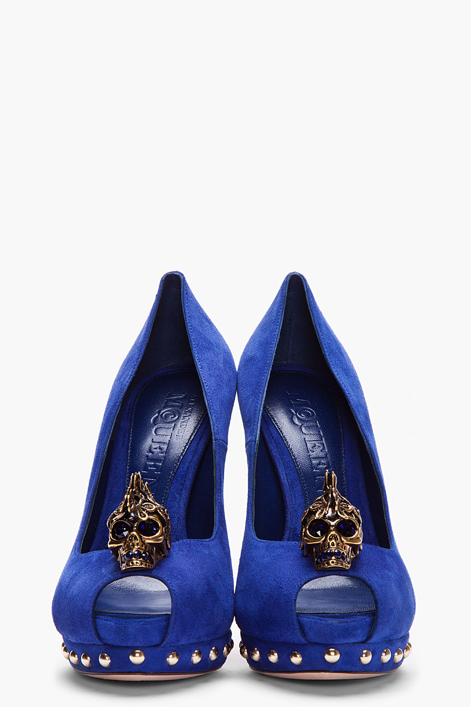 3ee2f84bf6716 Alexander McQueen Royal Blue Suede Lace Skull Studded Pumps in Blue ...