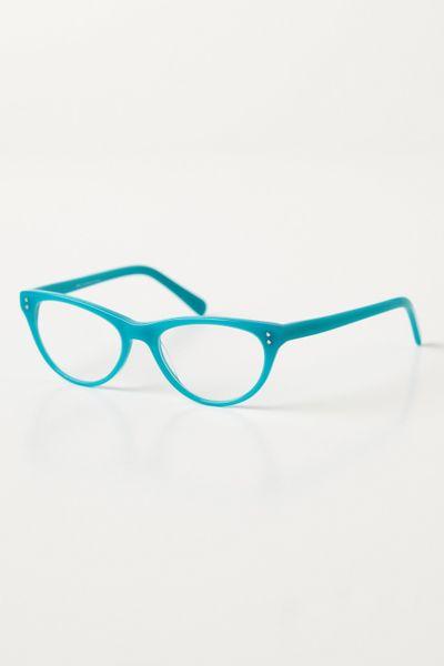 anthropologie lemongrass reading glasses in blue