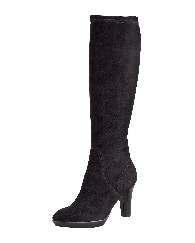 Aquatalia Rhumba Stretch Suede Tall Boot in Black   Lyst