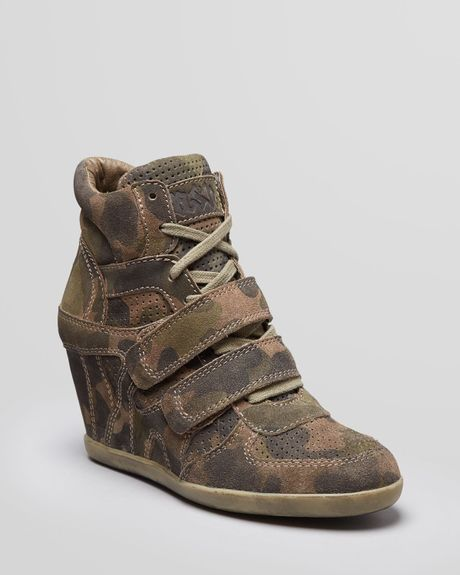 Ash Lace Up High Top Wedge Sneakers Bea in Beige (Camo) | Lyst