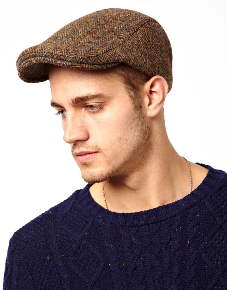 Lyst - ASOS Flat Cap in Tweed Fabric in Brown for Men 9511238ac25