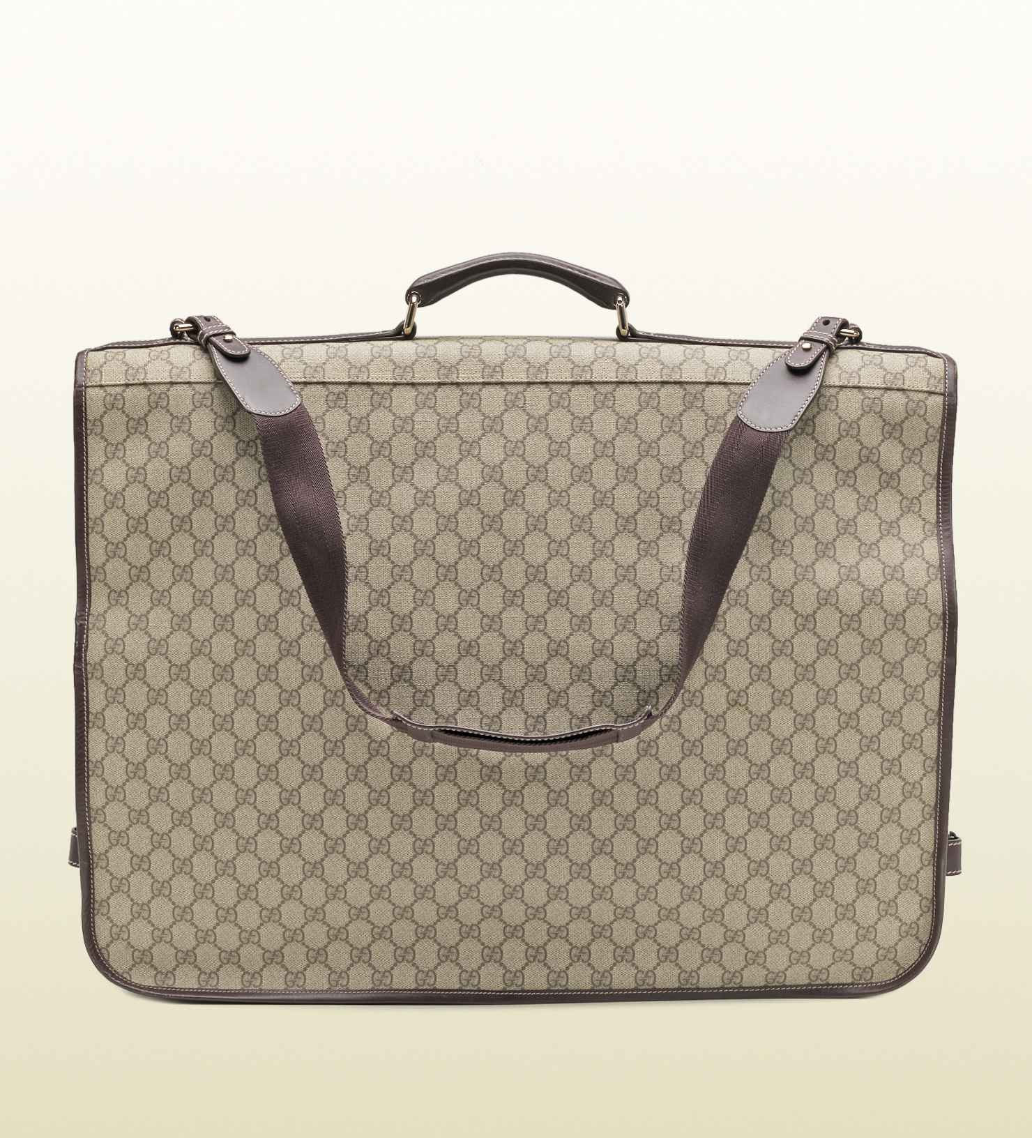 gucci gg supreme canvas garment bag in beige gray for