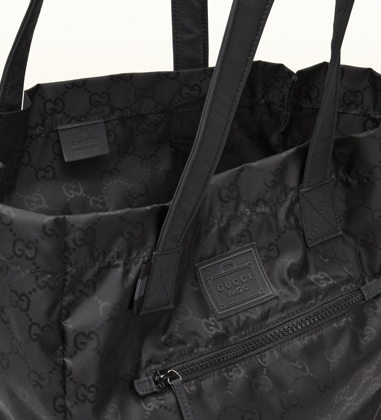 5c1c4af47523 Lyst - Gucci Black Gg Nylon Tote From Viaggio Collection in Black ...