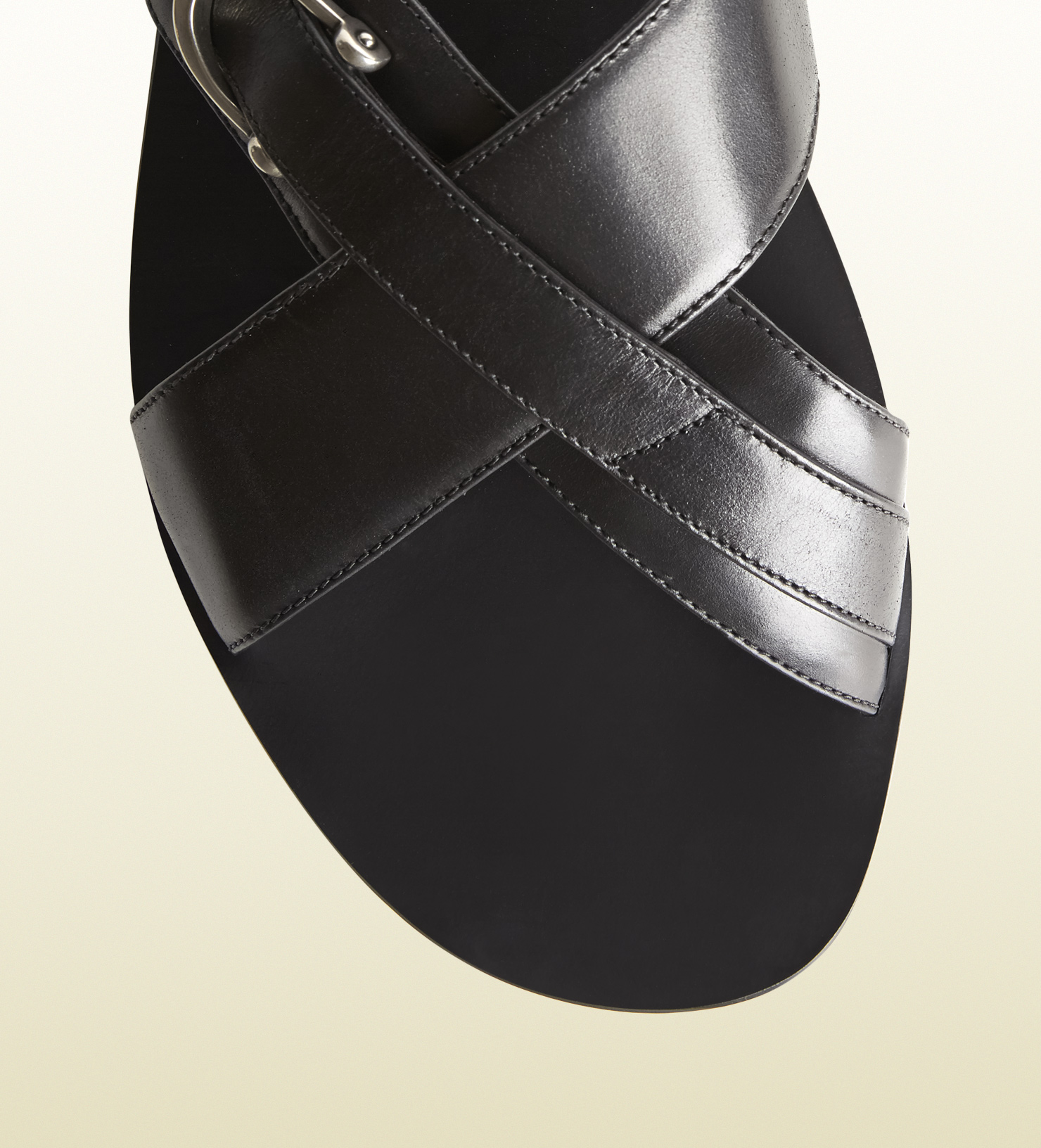 Lyst - Gucci Black Leather Crisscross Slide Sandal in ...