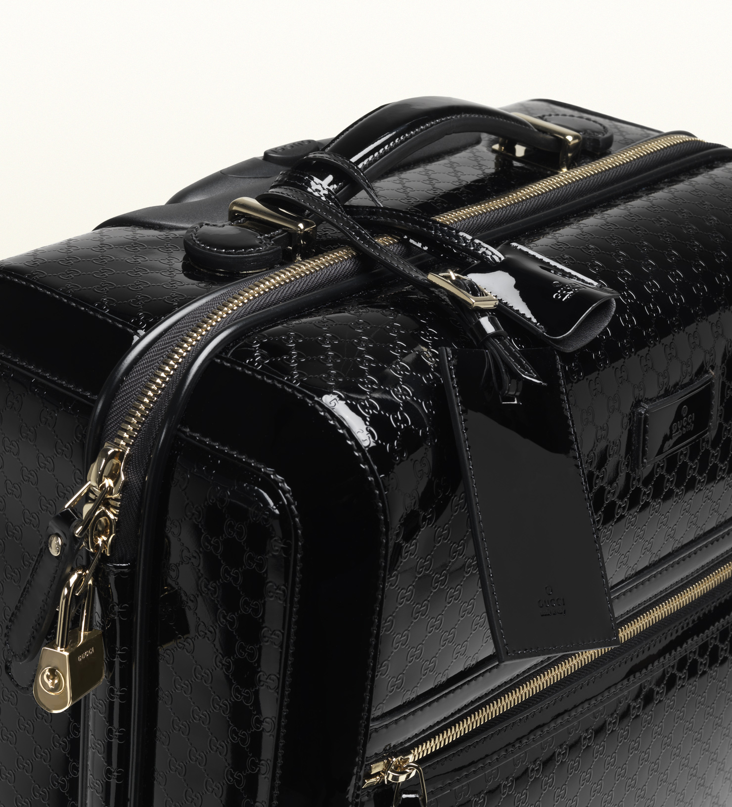 Gucci Microssima Patent Leather Carry On Suitcase In Black