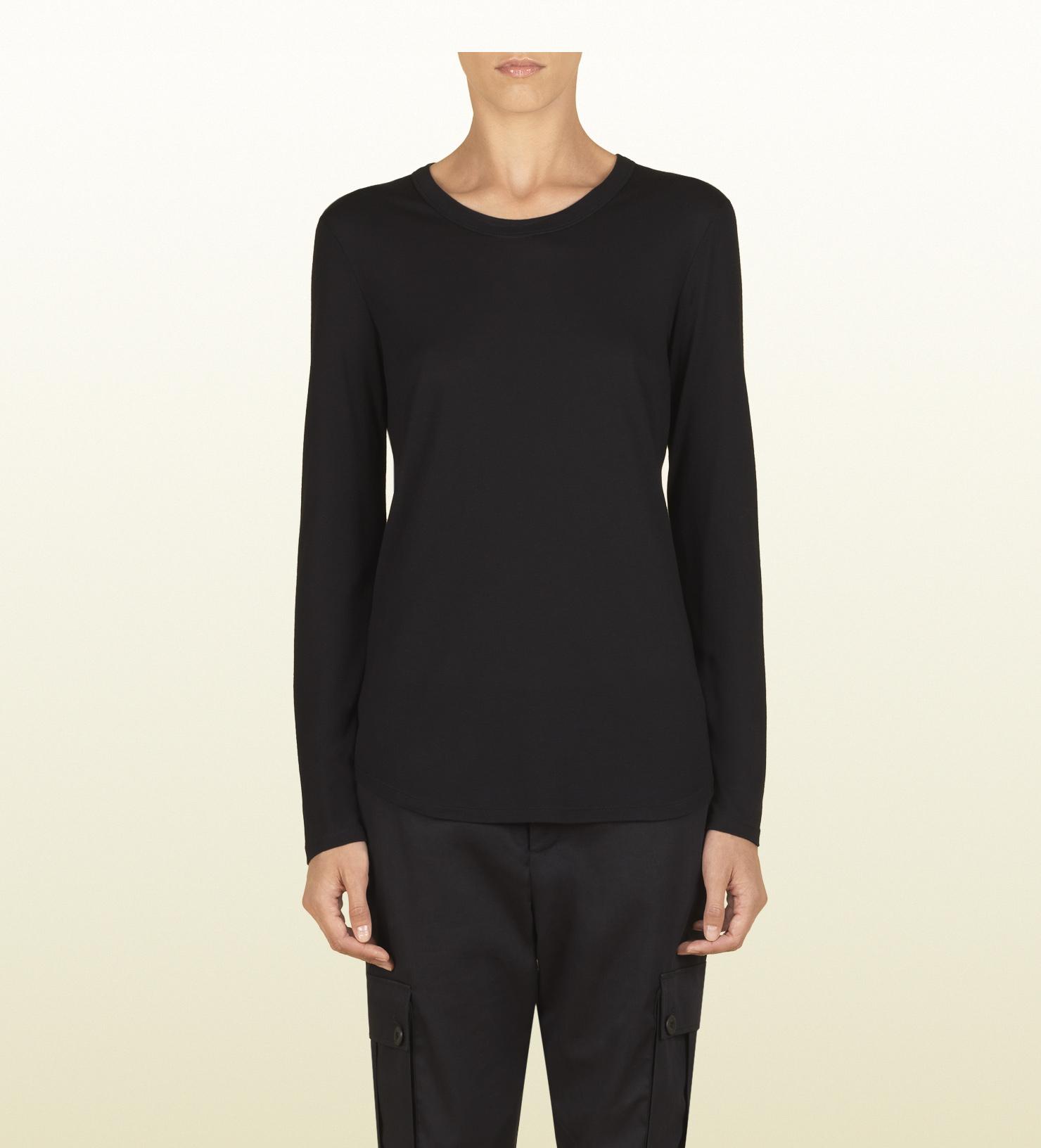 e42acd3d Gucci Women's Black Silk Jersey Long Sleeve T-shirt From Viaggio ...