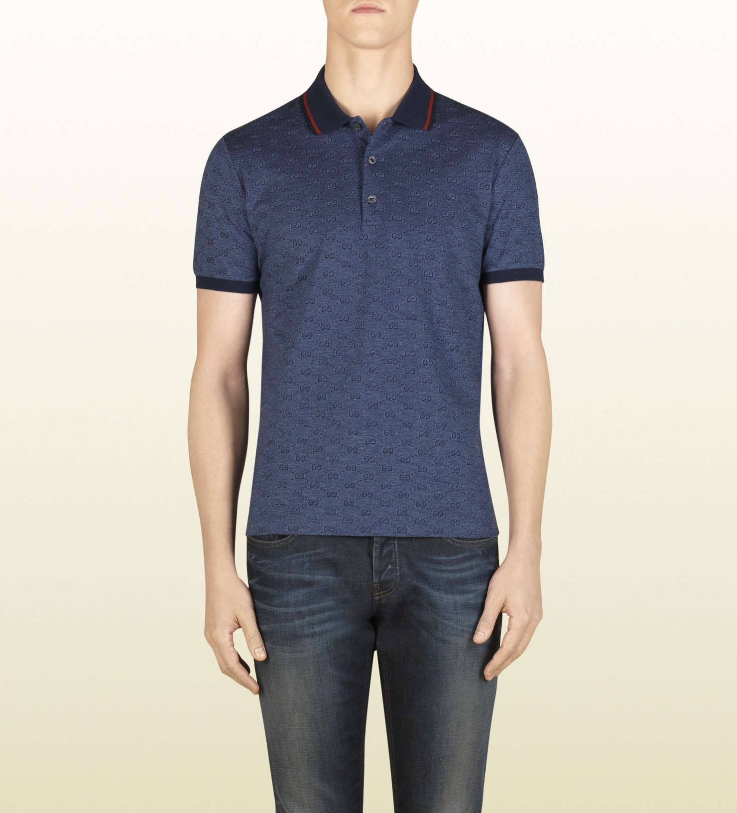 4ab125cf3feb9 Gucci Blue Gg Jacquard Cotton Pique Polo in Blue for Men - Lyst