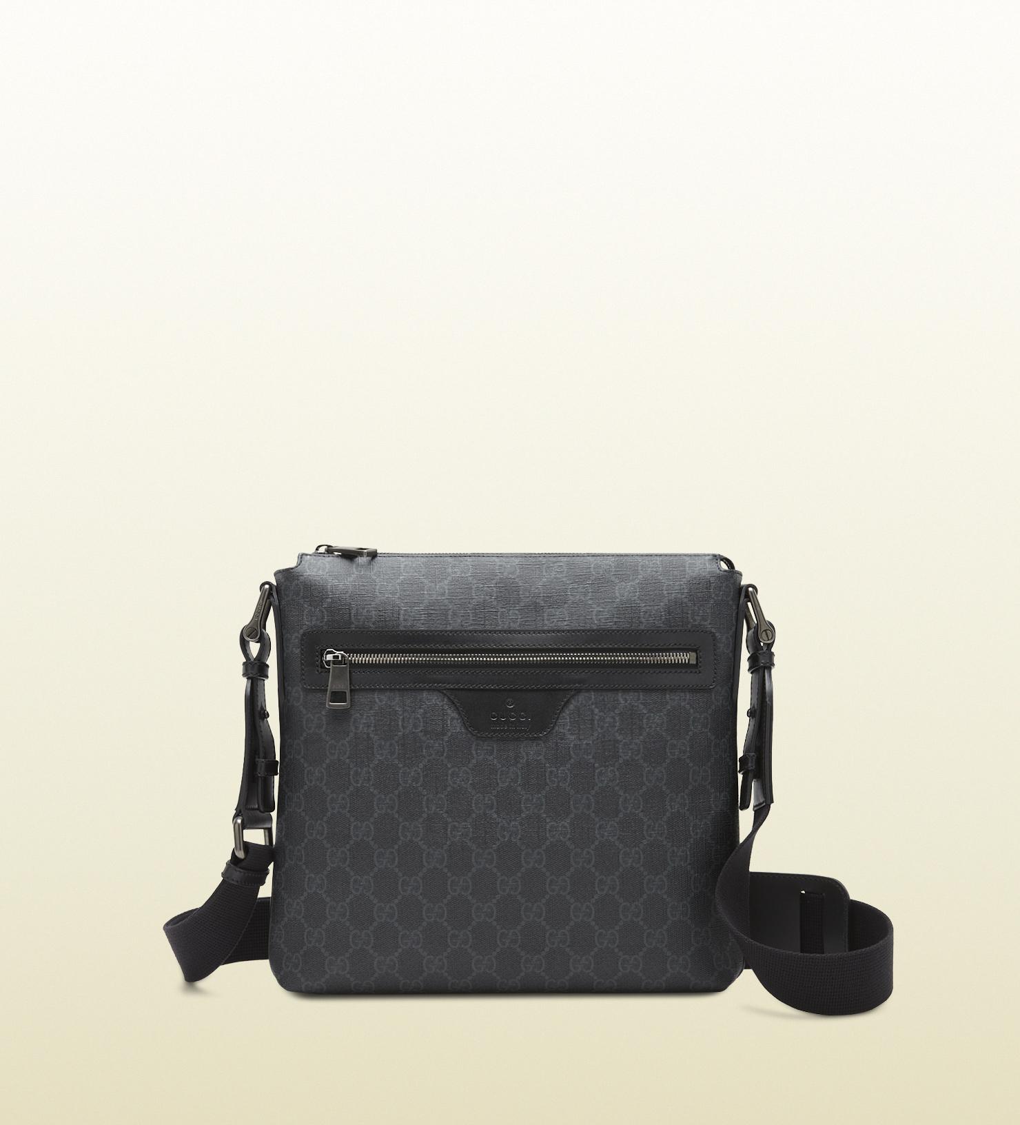 lyst gucci gg supreme canvas messenger bag in black for men
