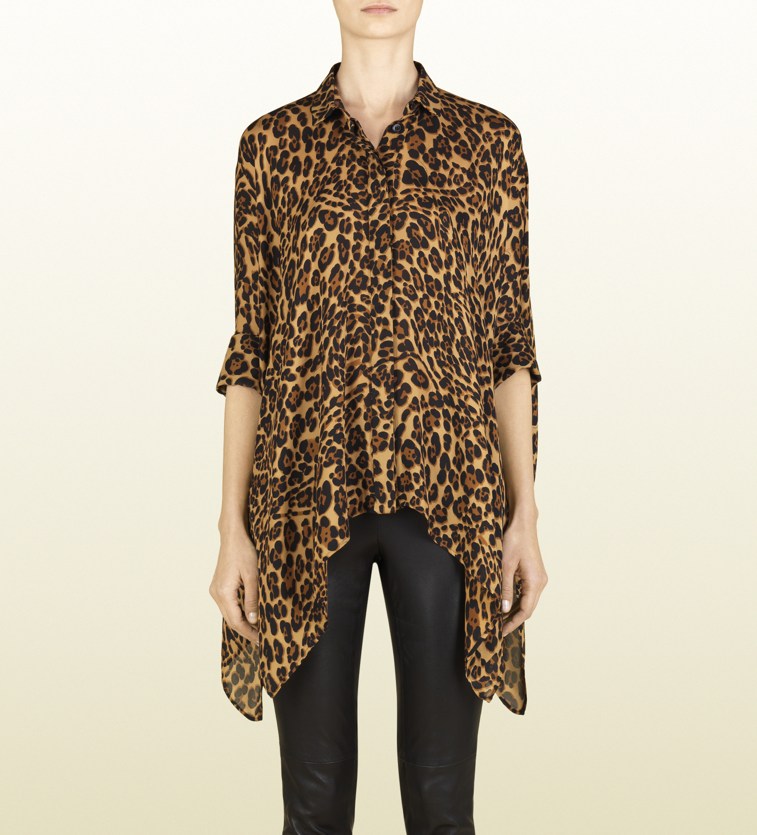 Jaguar Clothing Accessories: Gucci Jaguar Print Silk Cape Shirt In Animal (jaguar)